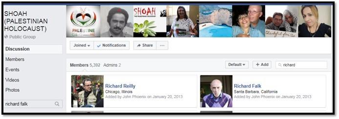 Screenshot of Richard Falk's membership in the Shoah: Palestinian Holocaust Facebook Group, taken in July, 2017.