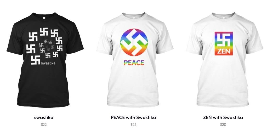 US T-shirt company sells swastika design as 'symbol of love and peace.'(Screen Capture)