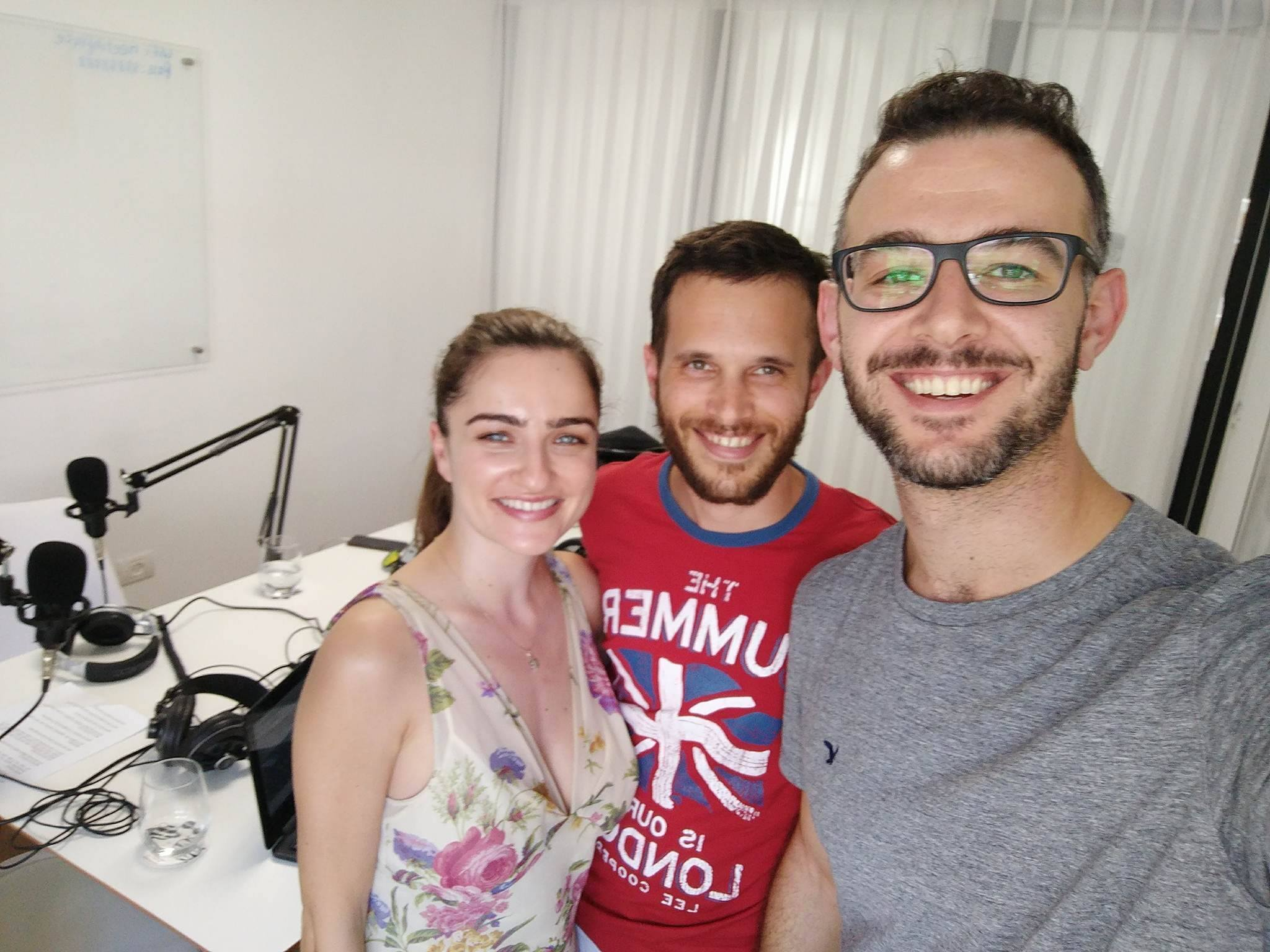 Actress Ania Bukstein in the studio with the Two Nice Jewish Boys guys. (Credit: Courtesy)