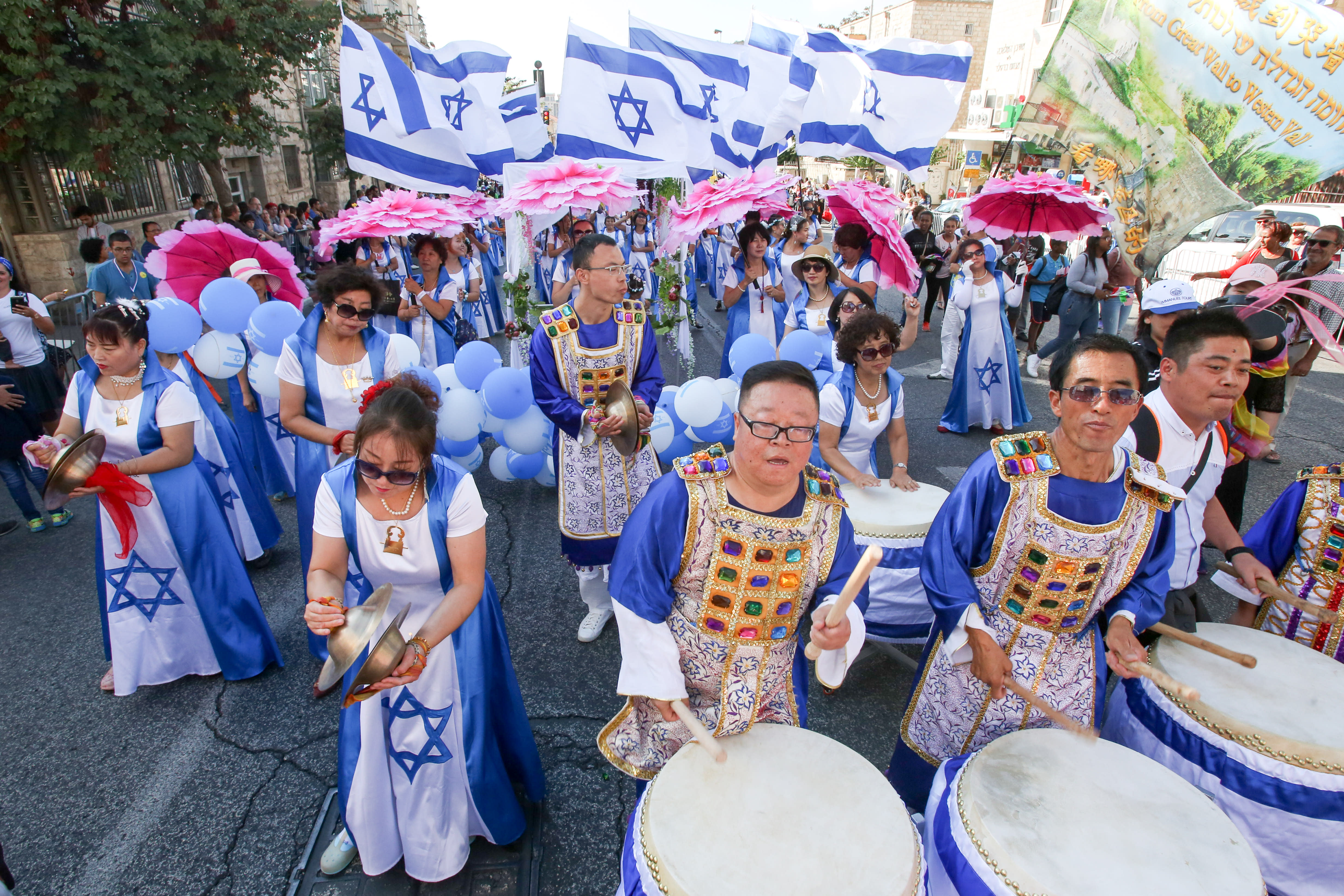 Celebrants at the annual Jerusalem March / MARC ISRAEL SELLEM/THE JERUSALEM POST