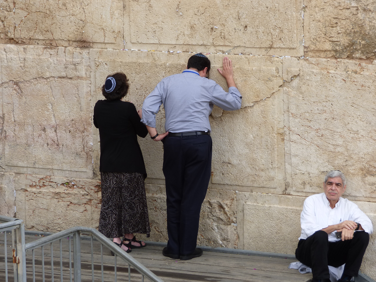 Members of the Jewish Agency Board of Governors pray at the egalitarian section of the Western Wall, October 30, 2017. Photo credit: David Shechter for The Jewish Agency for Israel.