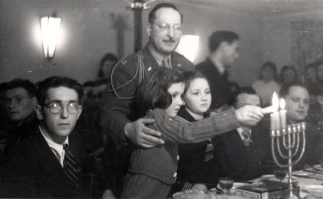 Hanukka in Fuerstenfeldbruck DP Camp, Germany, 1945. (YAD VASHEM)