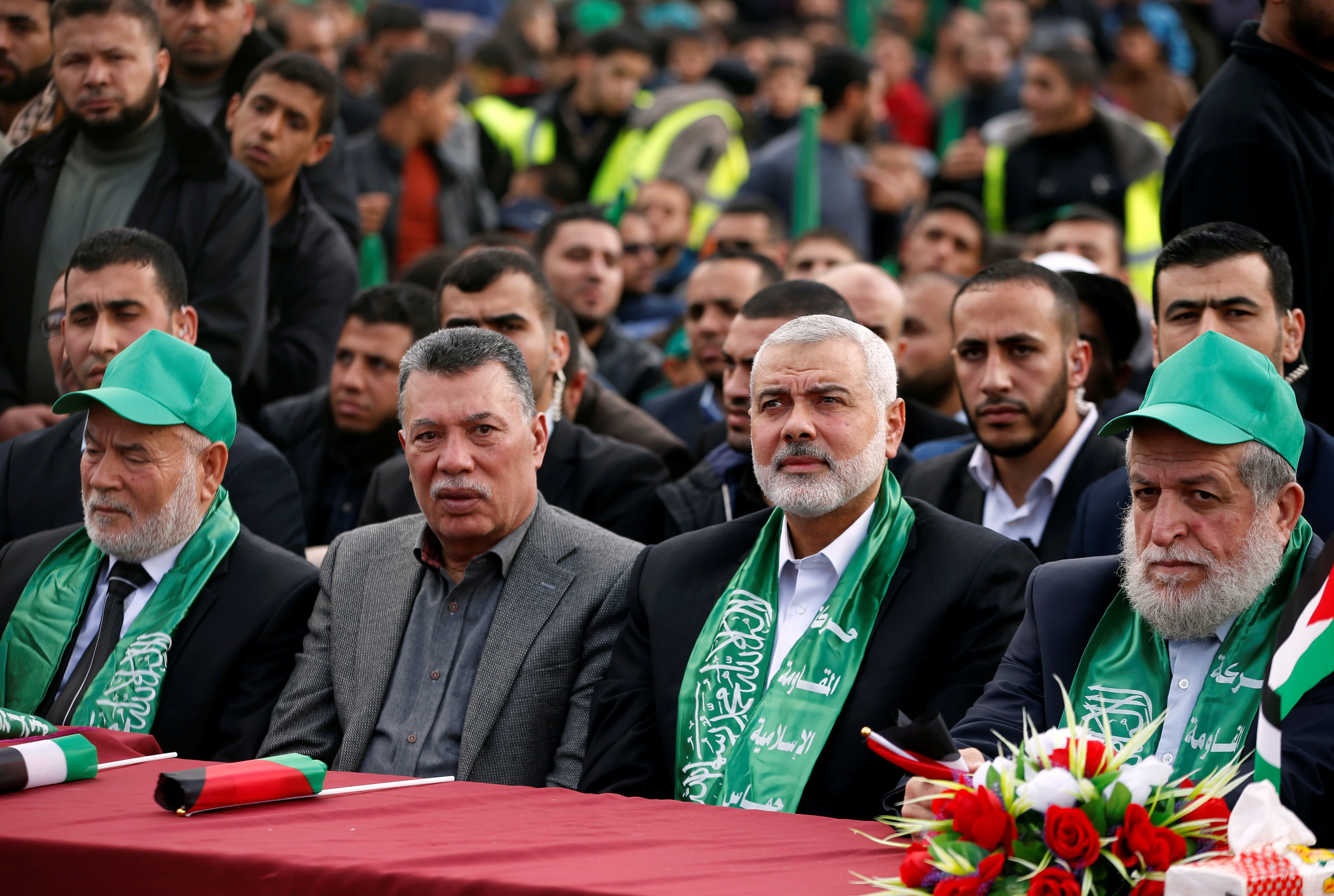 Hamas Chief Ismail Haniyeh attends a rally marking the 30th anniversary of Hamas' founding in Gaza City, December 14, 2017 (MOHAMMED SALEM/ REUTERS)