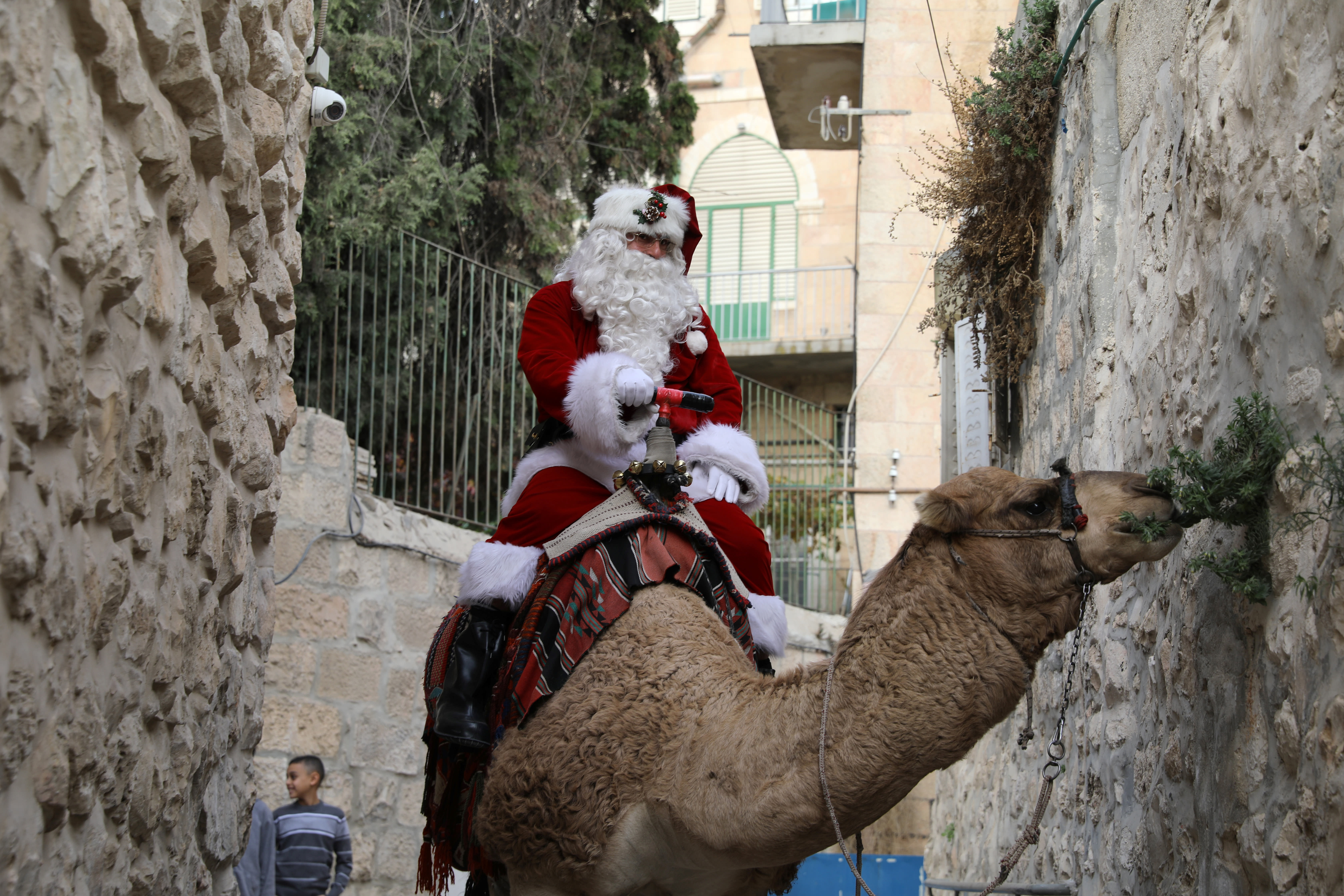 Issa Kassissieh, wearing a Santa Claus costume, rides a camel during the annual Christmas tree distribution by the Jerusalem municipality in Jerusalem's Old City December 21, 2017 (REUTERS/Ammar Awad)