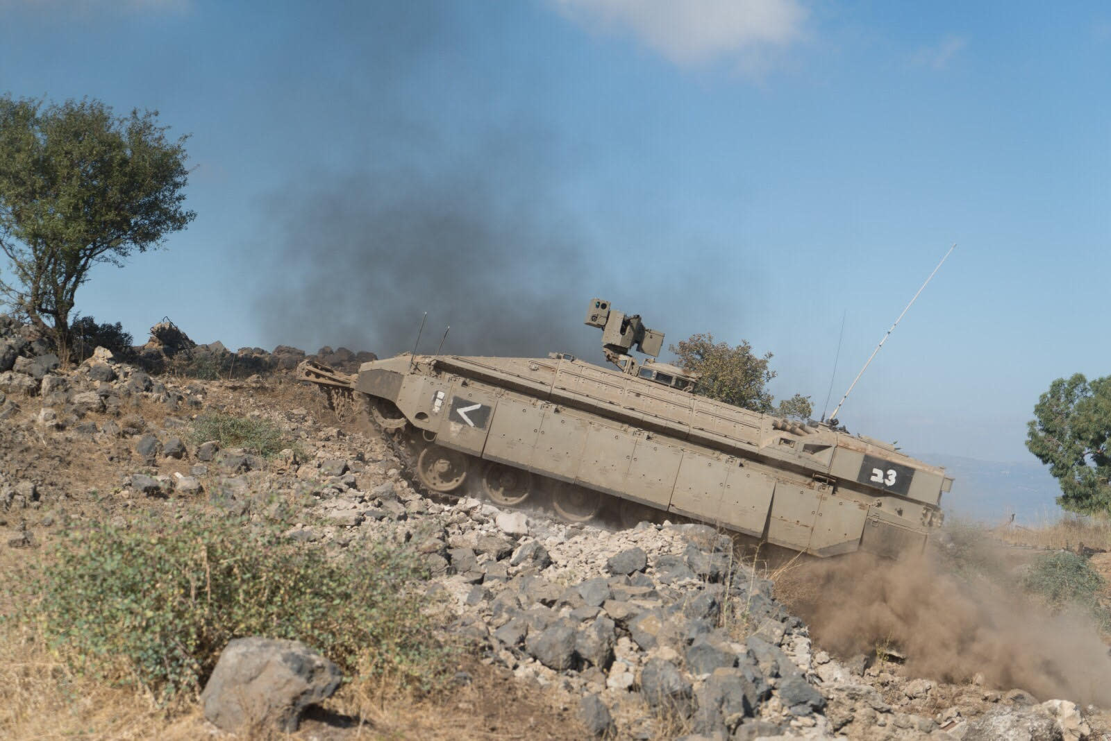 A Namer APC shows off its abilities at traversing steep terrain (IDF Spokesperson't Unit)