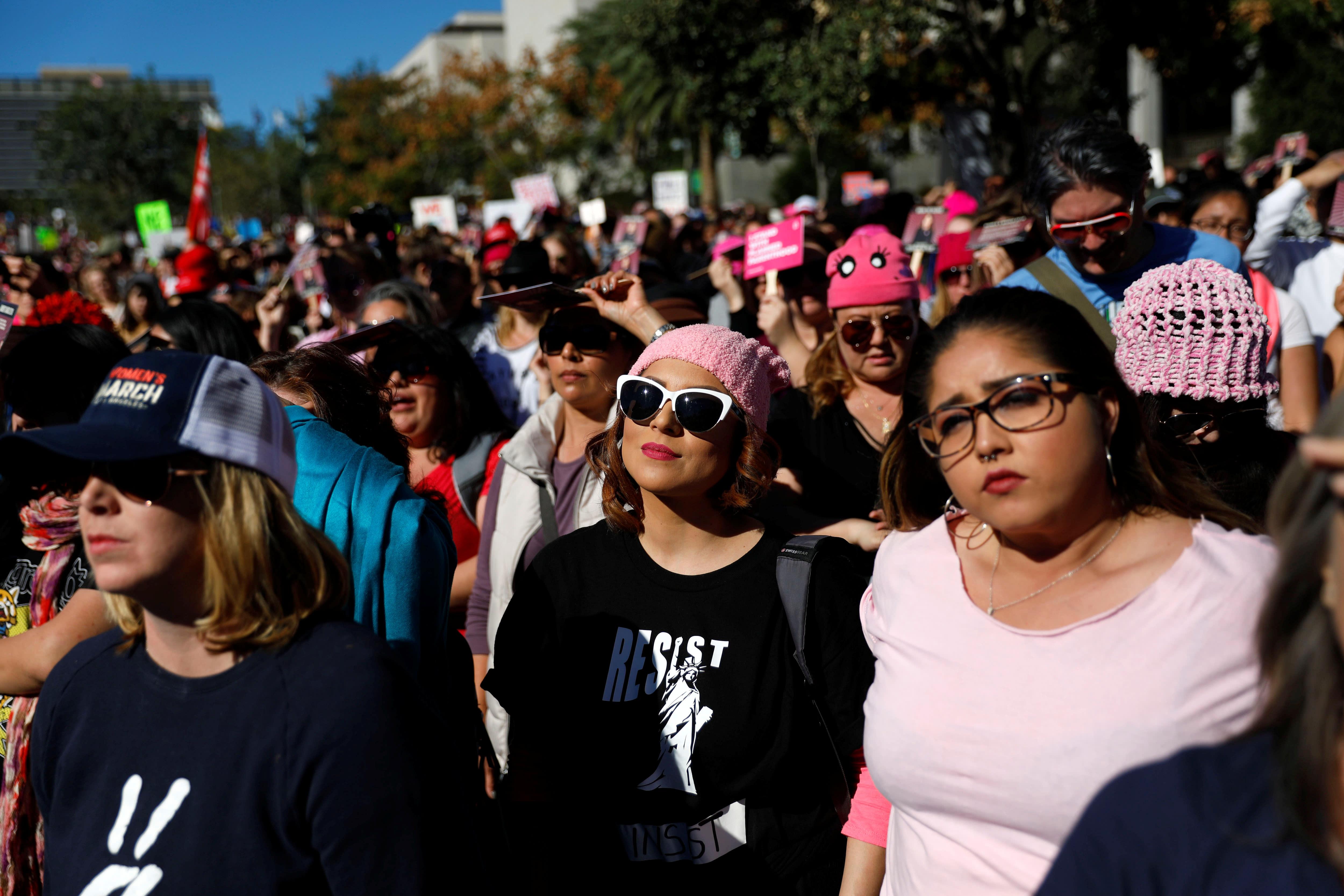 People participate in the second annual Women's March in LA (REUTERS/Patrick T. Fallon)