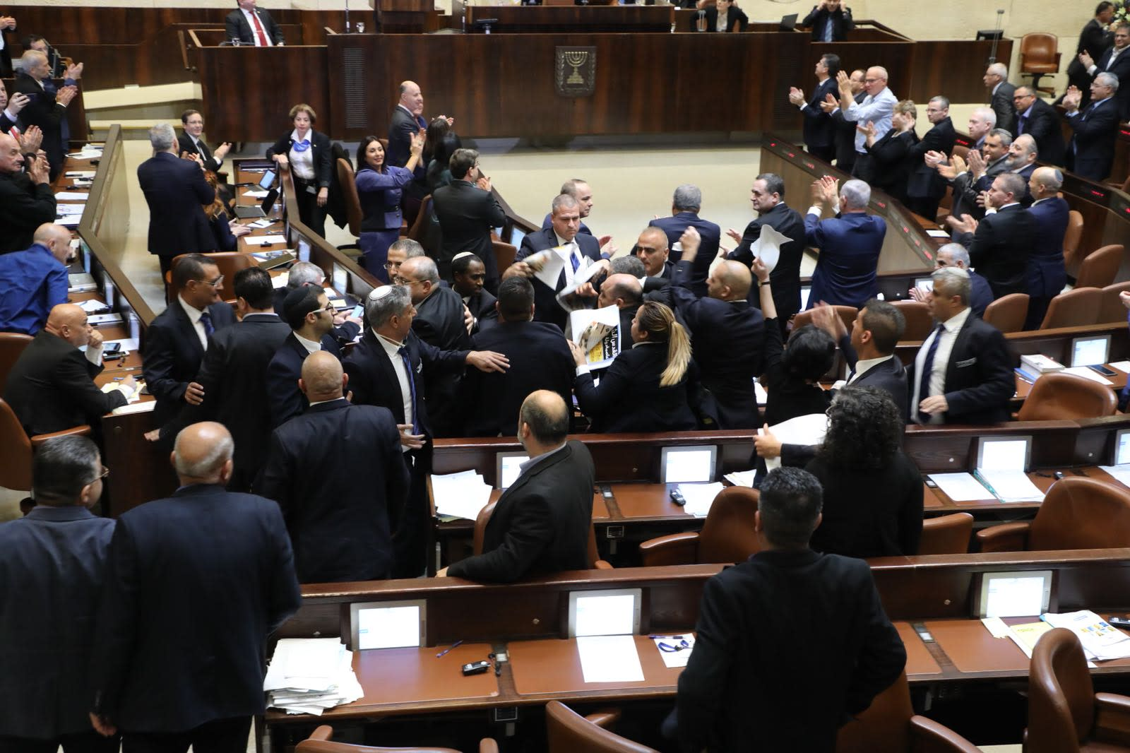 Arab lawmakers disrupt Vice President Pence's speech at the Knesset. (KNESSET SPEAKER'S OFFICE)