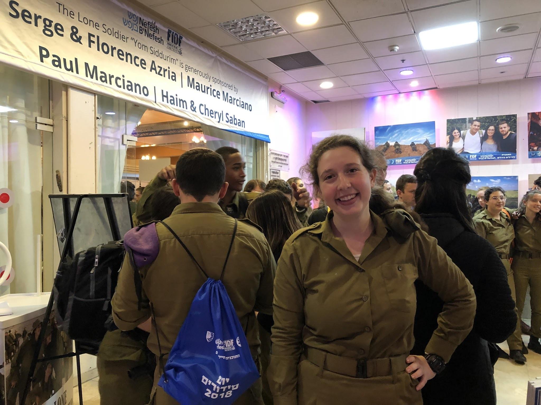 "Lone soldier Sophie Dubitsky at ""errands day."" (ANNA AHRONHEIM)"