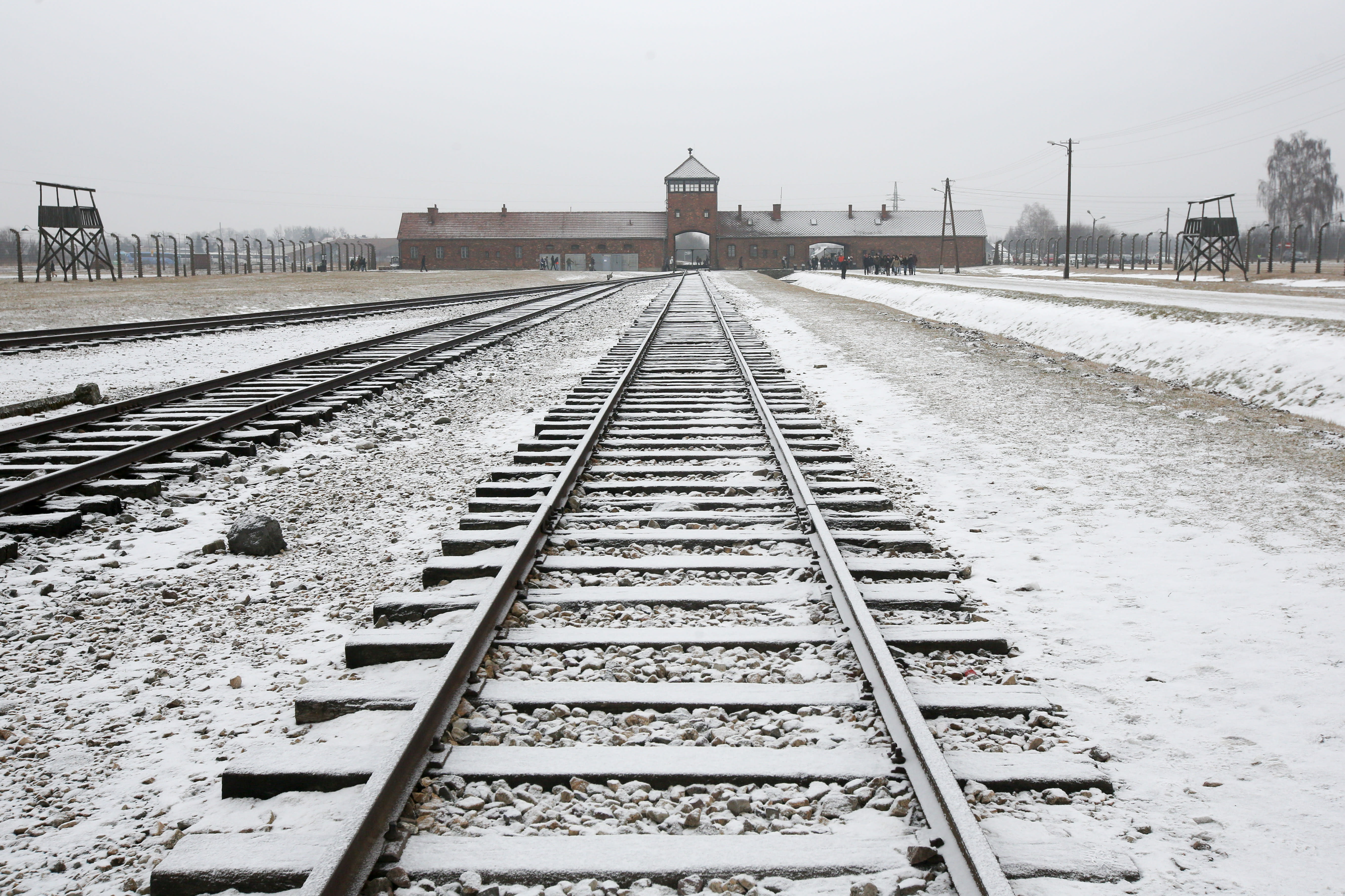Birkenau concentration camp in Poland in the snow (MARC ISRAEL SELLEM/THE JERUSALEM POST)