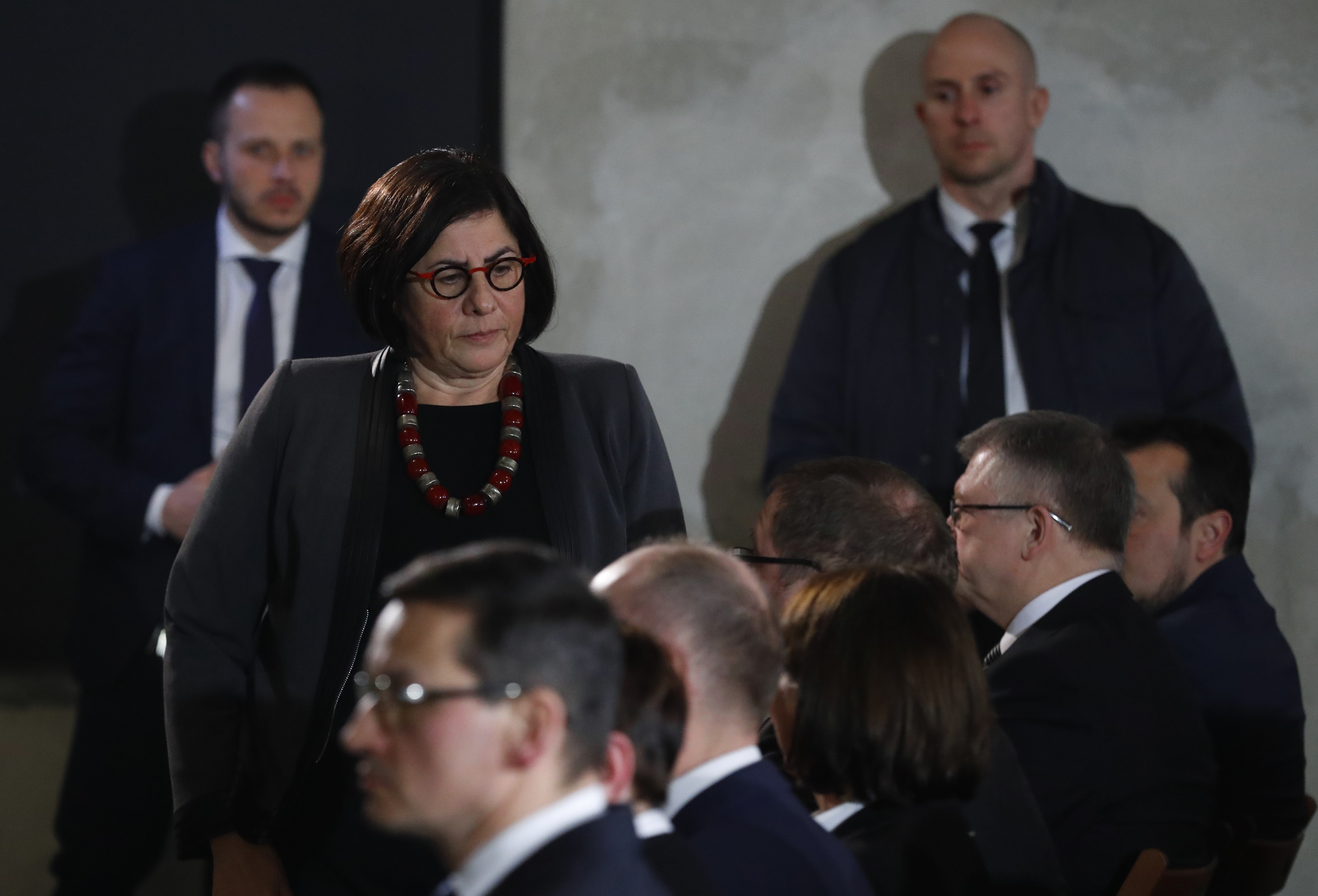 """Ambassador of Israel to Poland Anna Azari attends a commemoration event in the so-called """"Sauna"""" building at the former Nazi German concentration and extermination camp Auschwitz II-Birkenau, January 27, 2018 (REUTERS/KACPER PEMPEL)"""