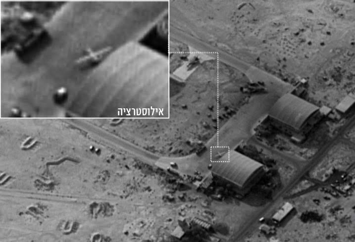 The Iranian drone (inset) that entered Israeli airspace was launched from a Syrian base in the Homs desert, which Israel later bombed (IDF SPOKESPERSON'S UNIT)