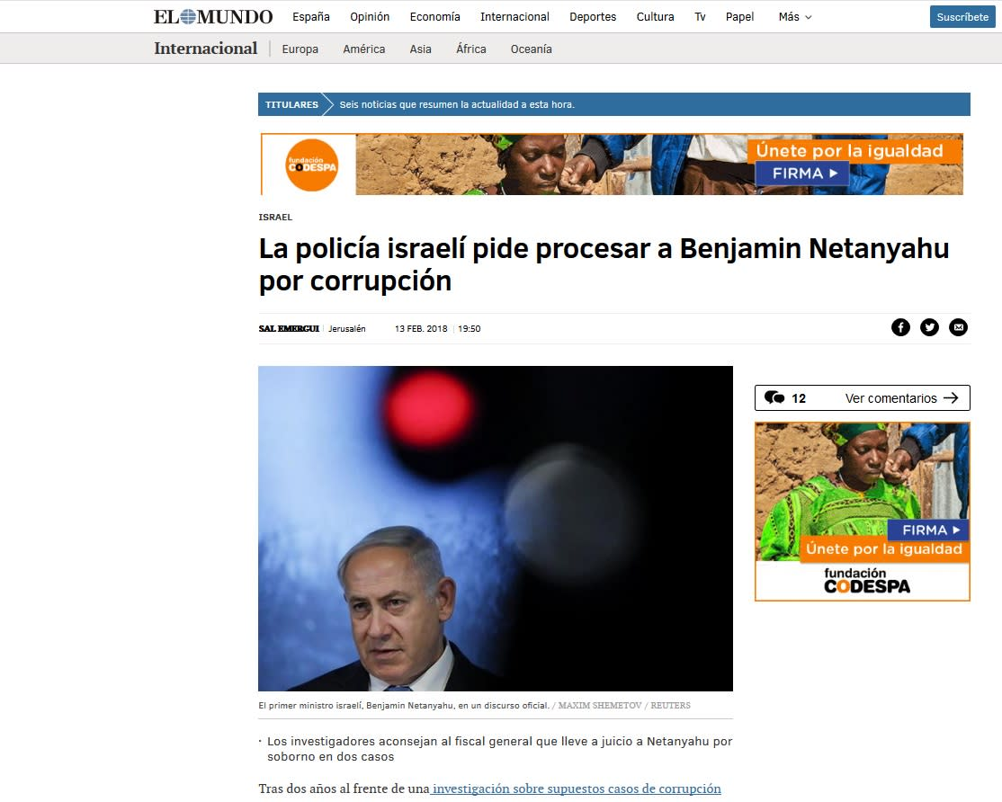 Spanish Newpaper El Mundo reporting on recommended indictment of PM Benjamin Netanyahu for corruption (WWW.ELMUNDO.ES/SCREENSHOT)