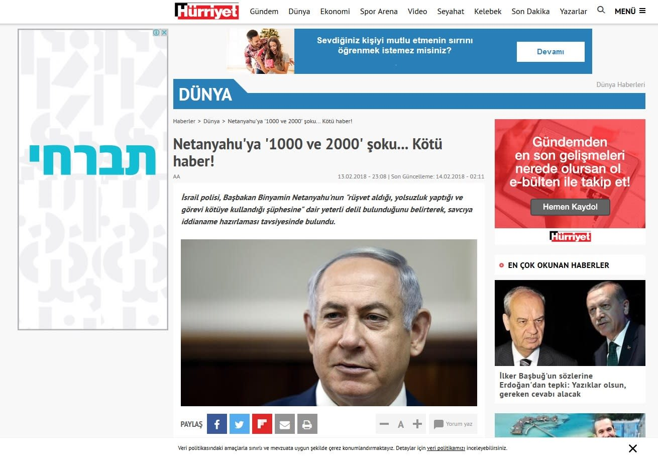 Turkish newspaper Hurriet reporting on recommended indictment of PM Benjamin Netanyahu for corruption (WWW.HURRIYET.COM/SCREENSHOT)