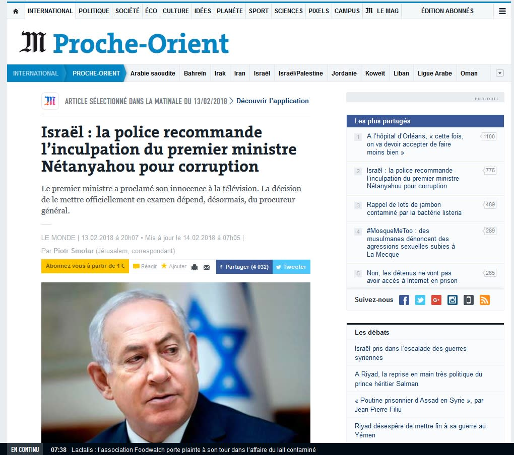 The French Newspaper Le Monde reporting on recommended indictment of PM Benjamin Netanyahu for corruption (WWW.LEMONDE.FR/SCREENSHOT)