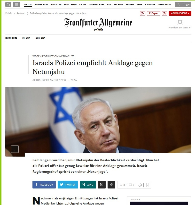 German newspaper Frankfurter Allgemeine reporting on recommended indictment of PM Benjamin Netanyahu for corruption (WWW.FAZ.NET/SCREENSHOT)