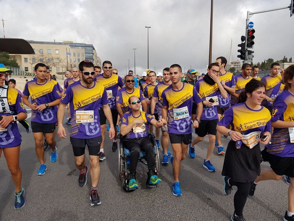 Team Shalva participates in the Jerusalem Marathon, March 2018 (SHALVA)
