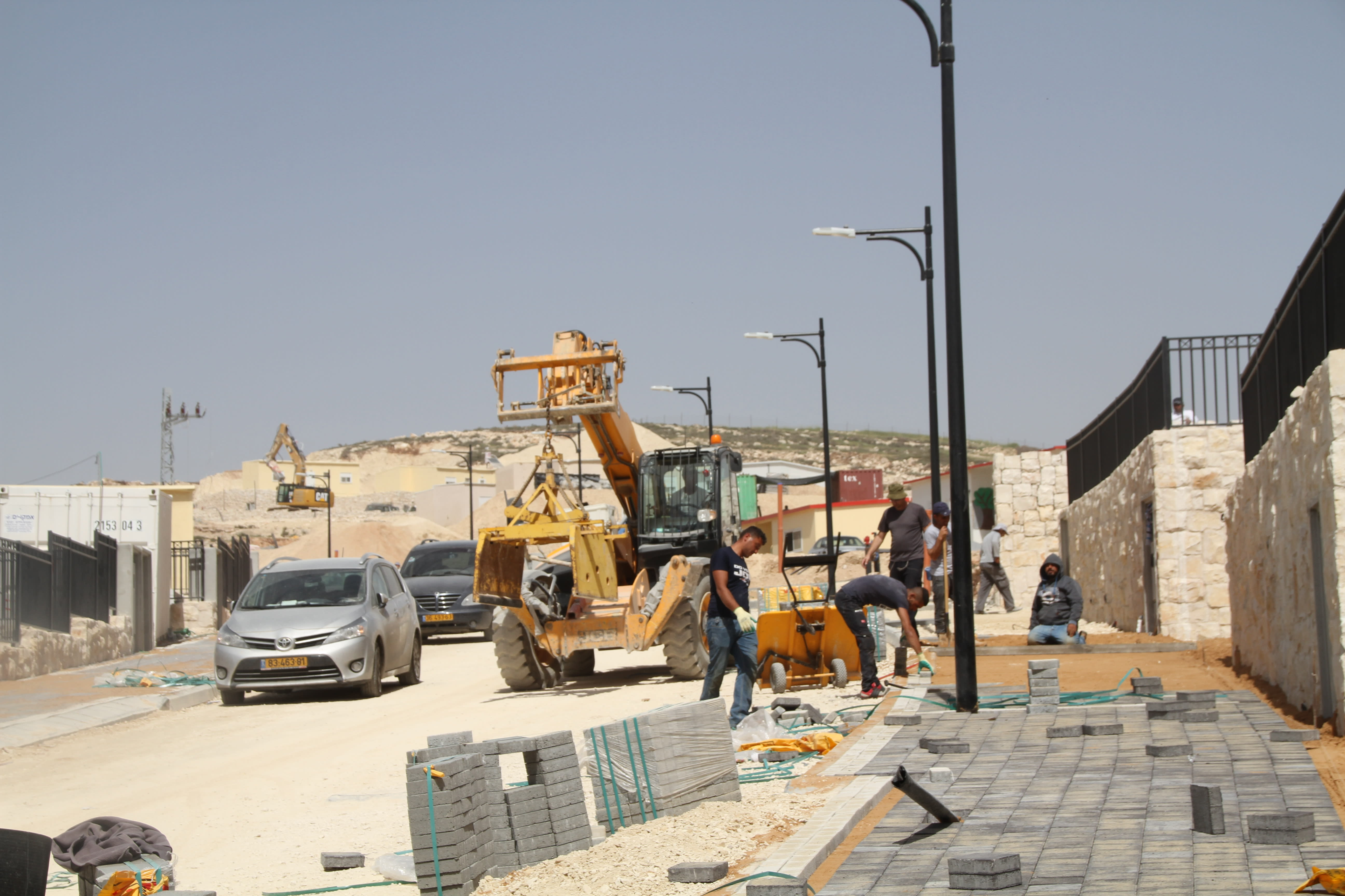 Construction on the first homes in the new Amichai settlement in the West Bank (TOVAH LAZAROFF).