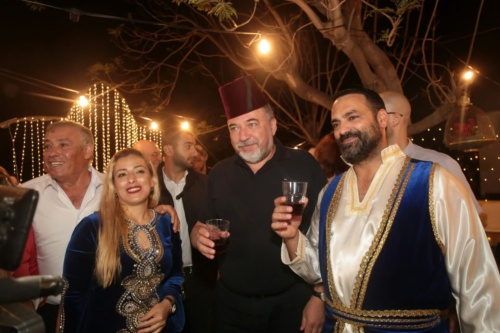 Defense Minister Avigdor Liberman at the Yisrael Beytenu Mimouna in Ashdod, April 2018 (COURTESY YISRAEL BEYTENU)