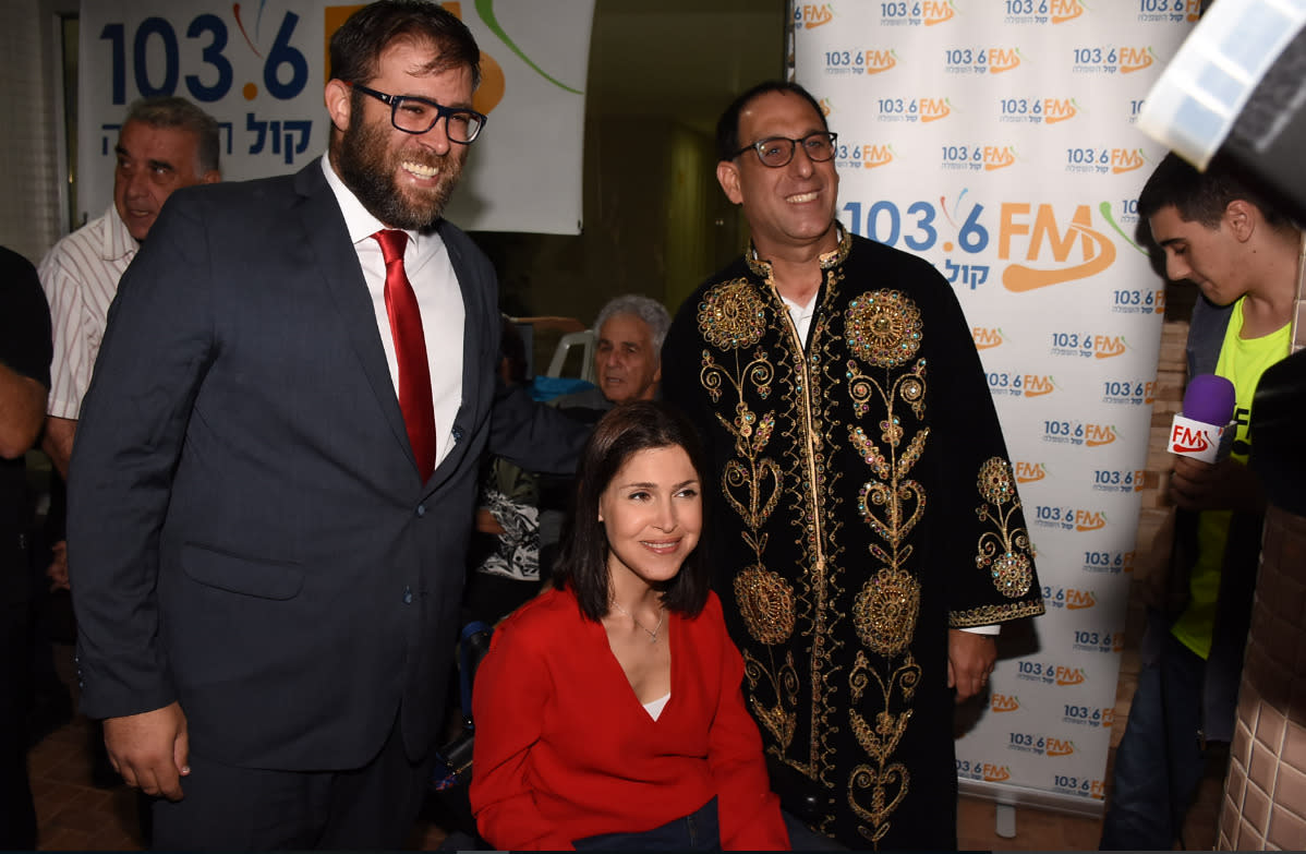 MK Oren Hazan and MK Karin Elharar at a Mimouna in Rehovot, April 2014 (Courtesy)