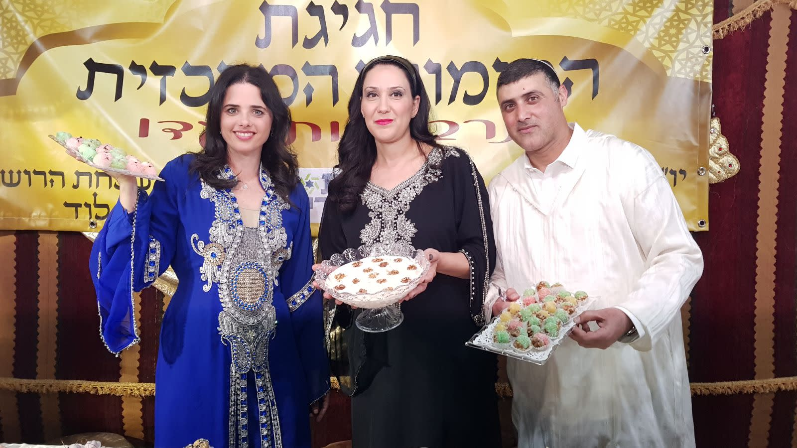 Justice Minister Ayelet Shaked at the Mimouna hosted by the Harosh family in Lod, April 2018 (Courtesy)