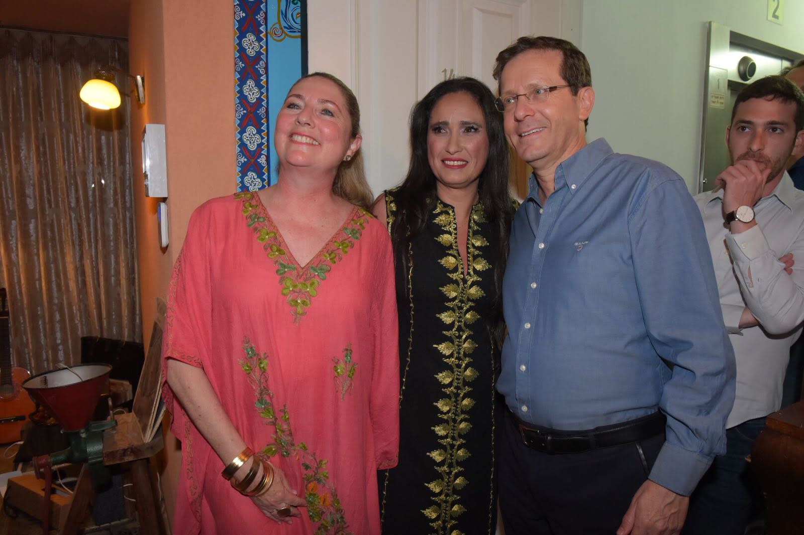 Opposition leader Isaac Herzog at a Mimouna celebration, April 2018 (AVSHALOM SASSONI/ MAARIV)