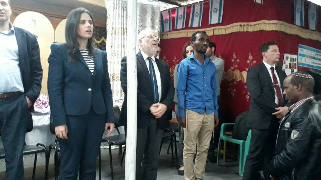 Justice Minister Ayelet Shaked sings the anthem during a meeting with Ethiopian Jews in Addis Ababa