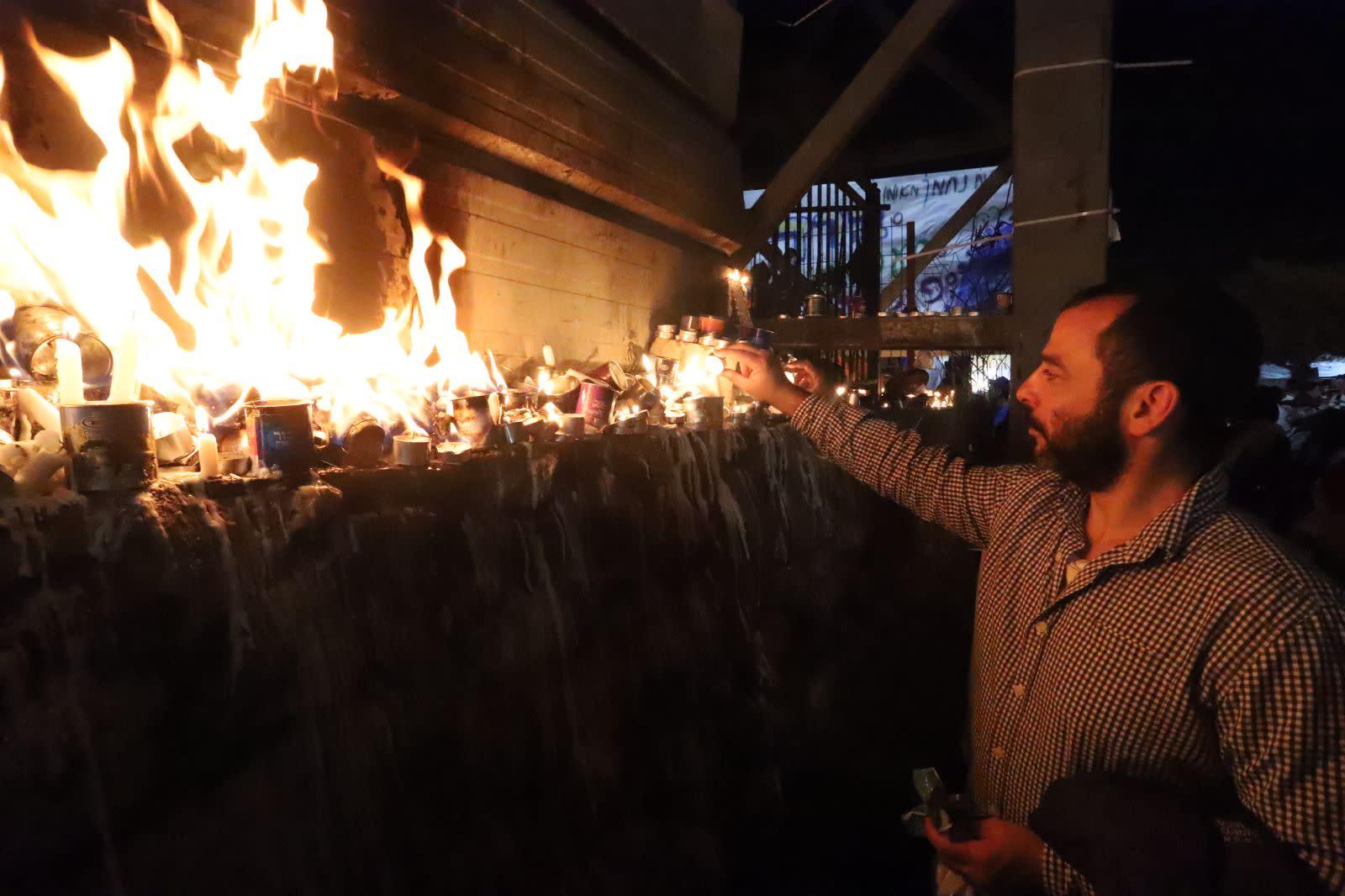 Worshippers celebrate Lag BaOmer in the northern Israeli city of Meron (EITAN ELHADAZ/TPS)