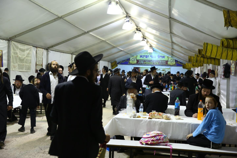 Thousands celebrate Lag BaOmer at the tomb of the Rashbi (Shimon bar Yochai) in the northern Israeli city of Meron (SARA HERSHKOF/TPS)