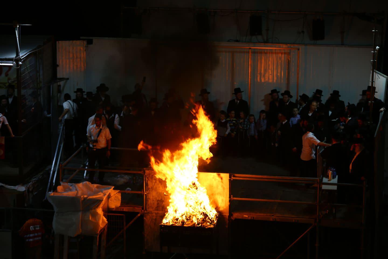 The Lag BaOmer bonfire at the tomb of the Rashbi (Shimon bar Yochai) in the northern Israeli city of Meron (SARA HERSHKOF/TPS)