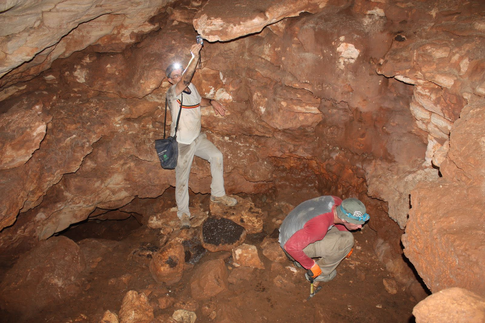 "Archeological teams in the Qibya cave 30 kilometers northwest of Ramallah as part of the ""Southern Samaria Survey"" project. (COGAT SPOKESMAN)"