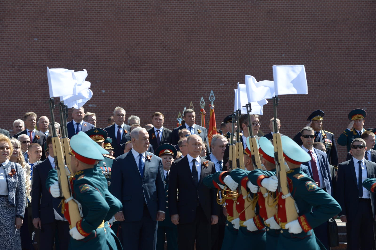 Prime Minister Benjamin Netanyahu and Russian President Vladimir Putin at the Victory Day parade in Moscow (PMO)
