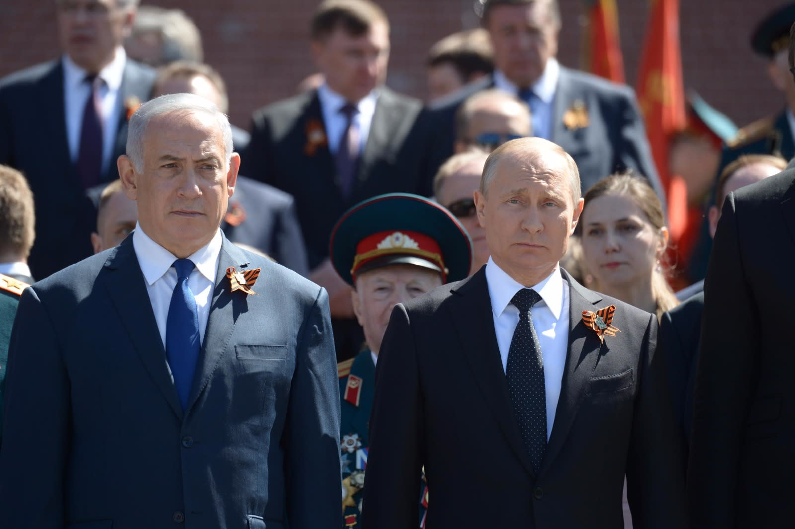 Prime Minister Benjamin Netanyahu and Russian President Vladimir Putin at the Victory Day parade in Moscow, May 2018 (PMO)
