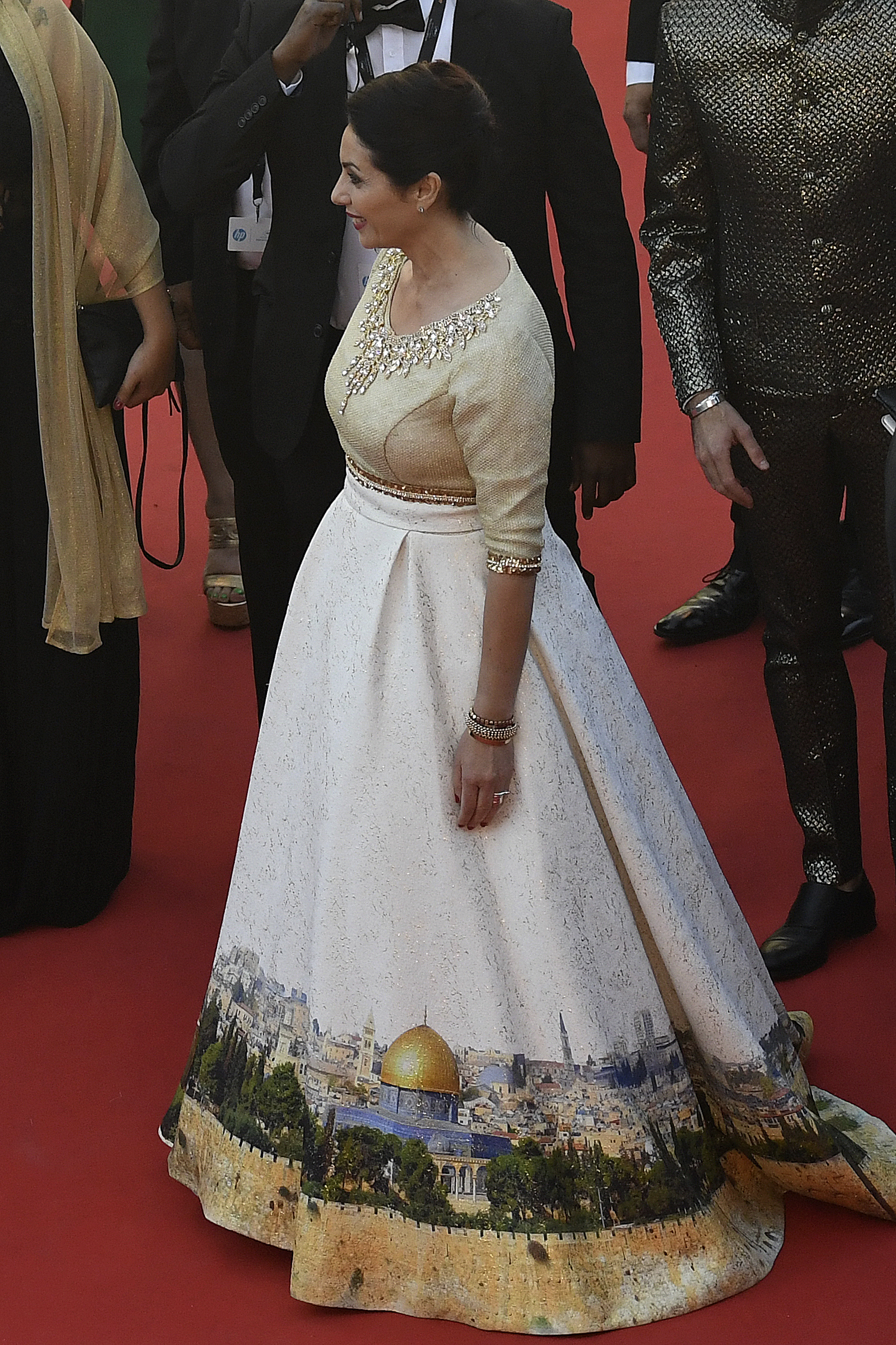 Israeli Culture Minister Miri Regev wearing a dress featuring the old city of Jerusalem at the Cannes Film Festival, May 17, 2017 (ANTONIN THUILLIER / AFP).