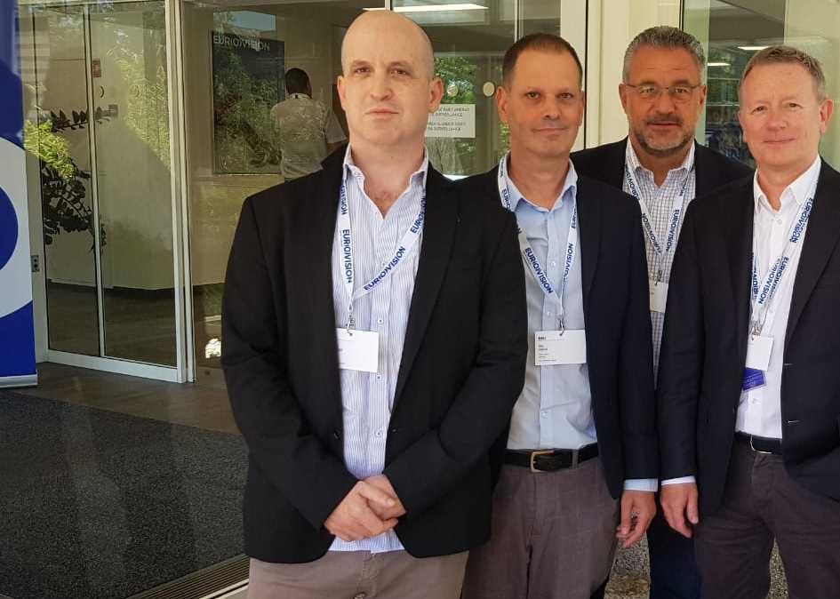 (L to R) Kan CEO Eldad Koblenz, Kan chairman Gil Omer, Frank-Dieter Freiling and Jon Ola Sand of the EBU.