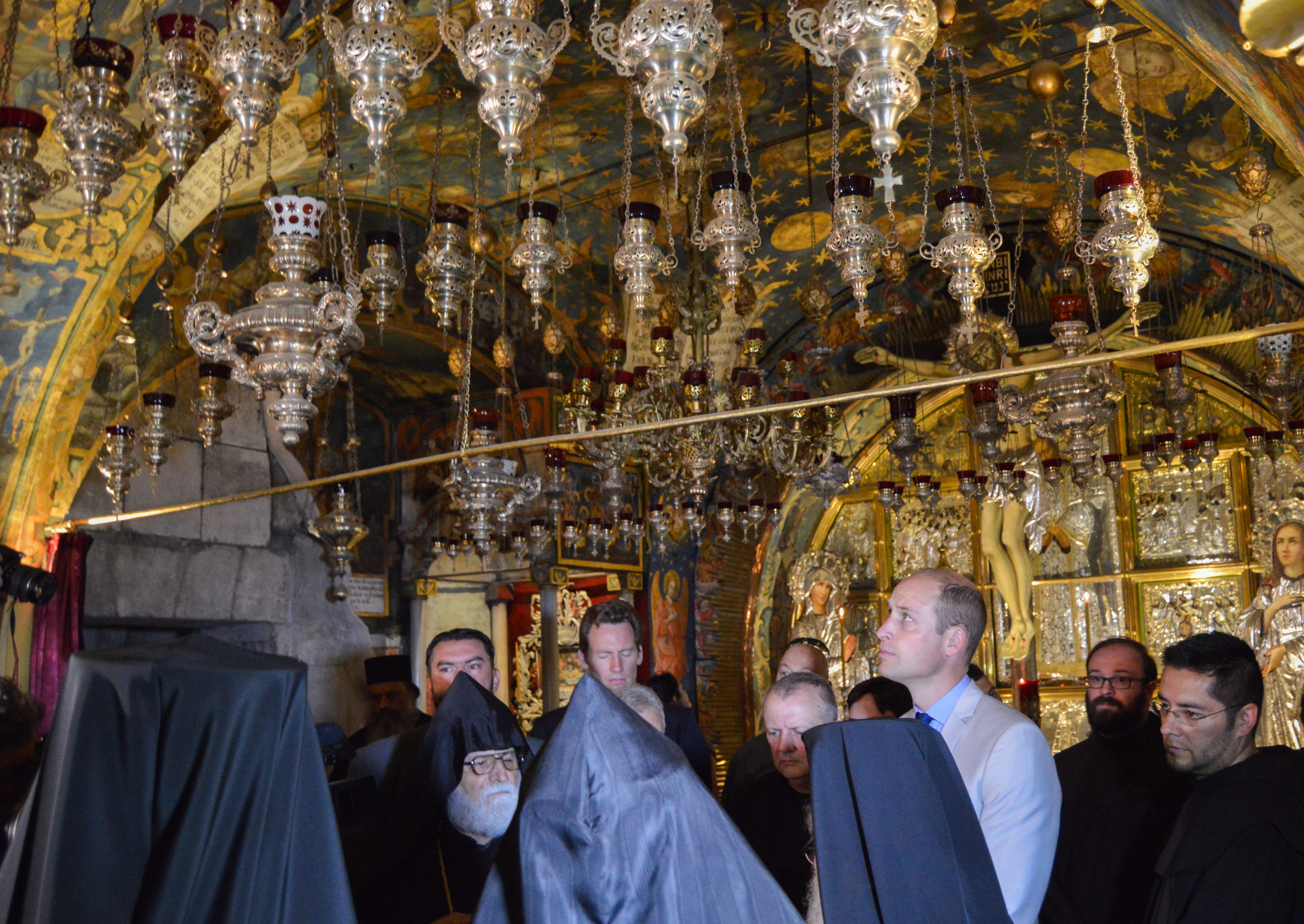 Prince William tours the Church of the Holy Sepulcher in Jerusalem's old City