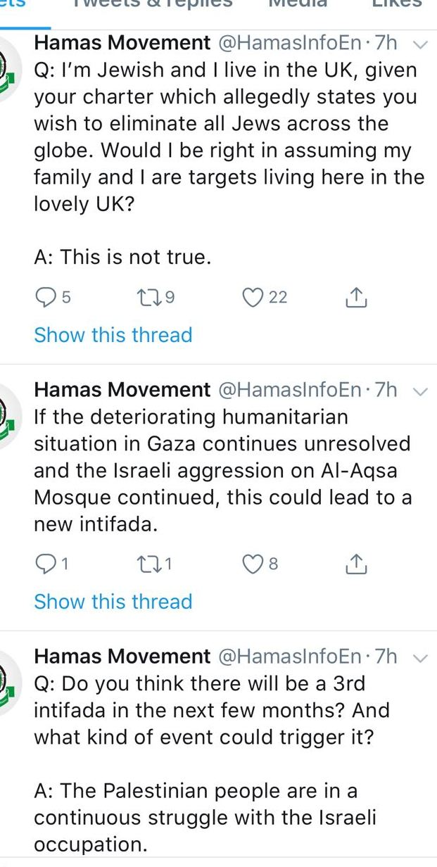 Hamas response to Twitter followers on Twitter account (Twitter screenshot)