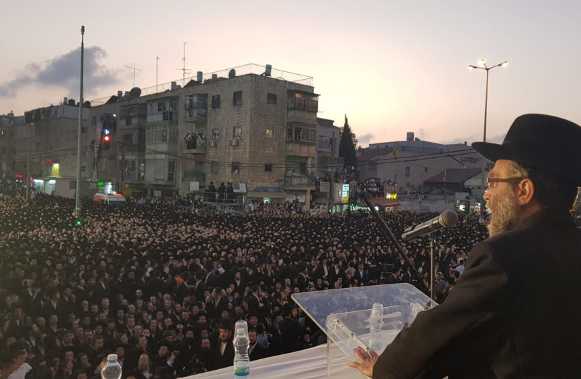 MK Moshe Gafni speaks in an ultra-Orthodox rally (photo credit: Courtesy)