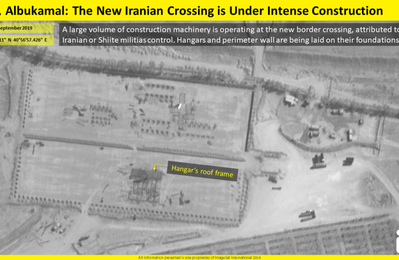 Aerial view of the new Iranian border crossing between Syria and Iraq (photo credit: IMAGESAT INTERNATIONAL (ISI))