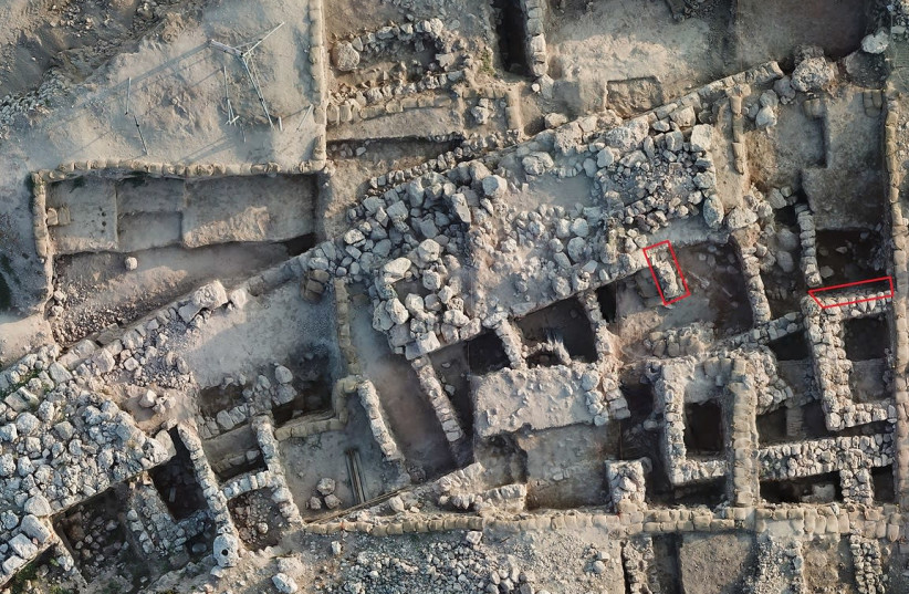 Aerial view of the excavations at Shiloh (photo credit: COURTESY ASSOCIATES FOR BIBLICAL RESEARCH)