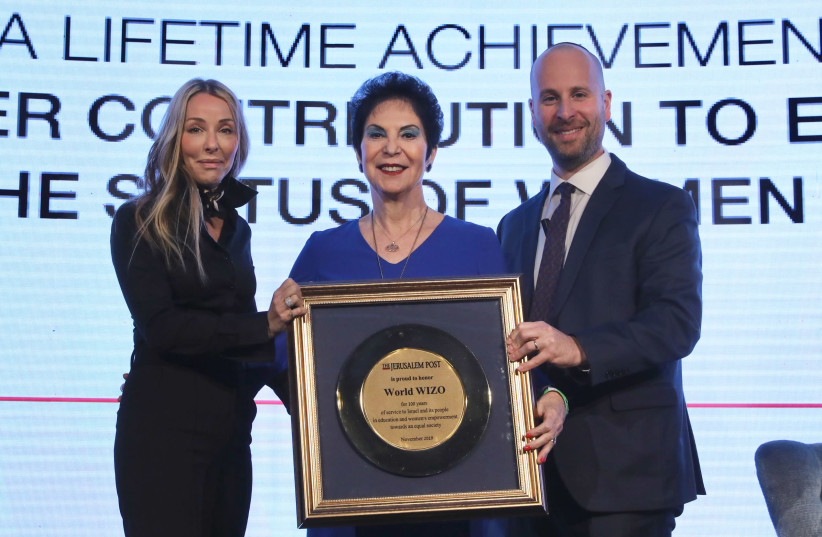 Prof. Rivka Lazovsky, chair of WIZO, is presented an award at The Jerusalem Post Diplomatic Conference. (photo credit: MARC ISRAEL SELLEM/THE JERUSALEM POST)