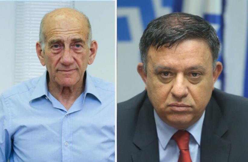 Ex-Prime Minister Ehud Olmert and former Labor leader Avi Gabbay (photo credit: MARC ISRAEL SELLEM)