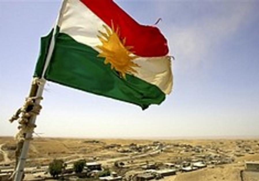 A Kurdish flag in northern Iraq