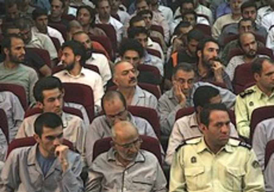 Defendants are seen at a court room in Teheran, Sa