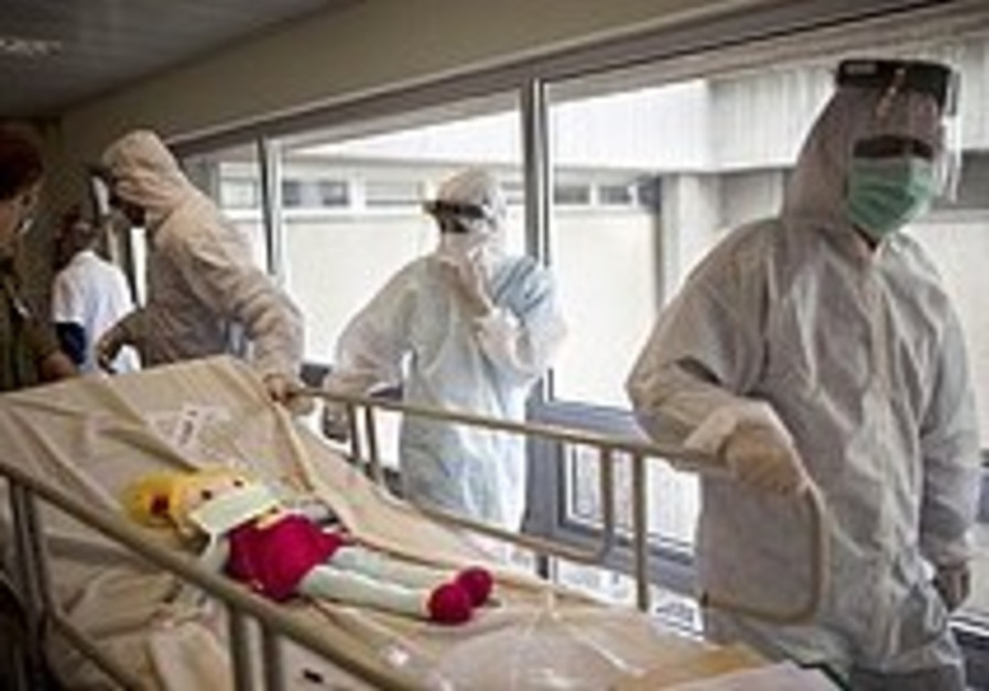 Paramedics during an exercise simulating a chemica