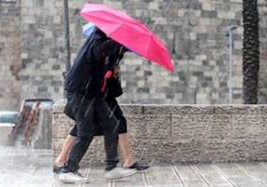 Stormy weather hits Jerusalem Monday.