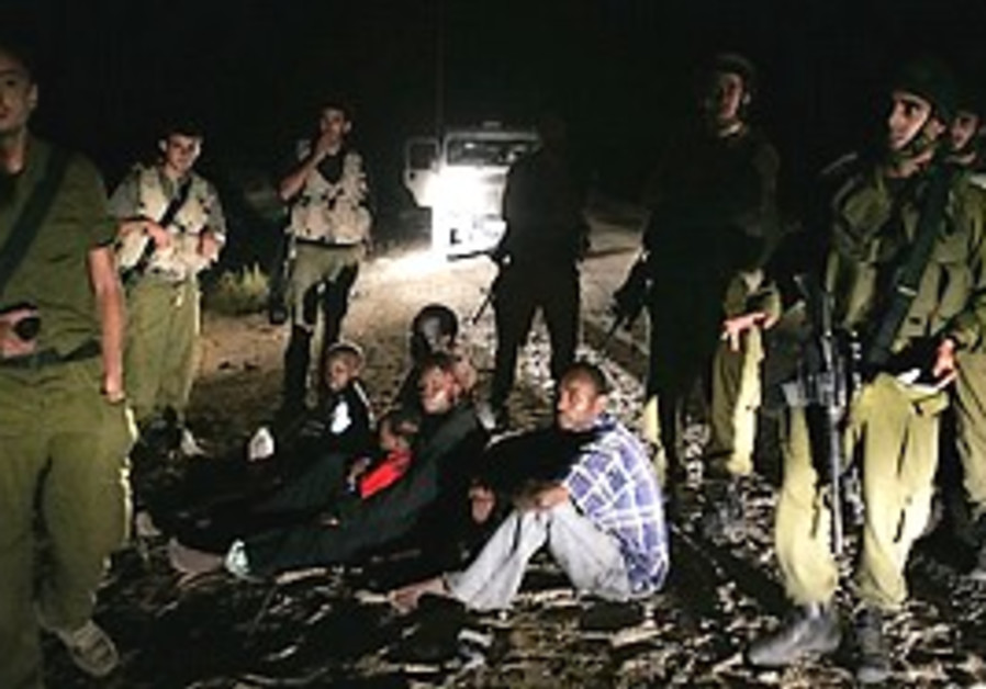 Sudanese family caught by the IDF on the border.