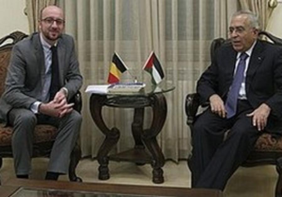 Belgian Minister Michel meets Fayyad in Ramallah,