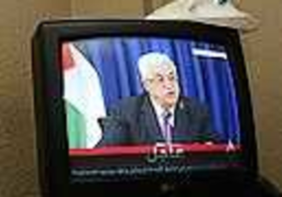Palestinian Authority President Mahmoud Abbas give