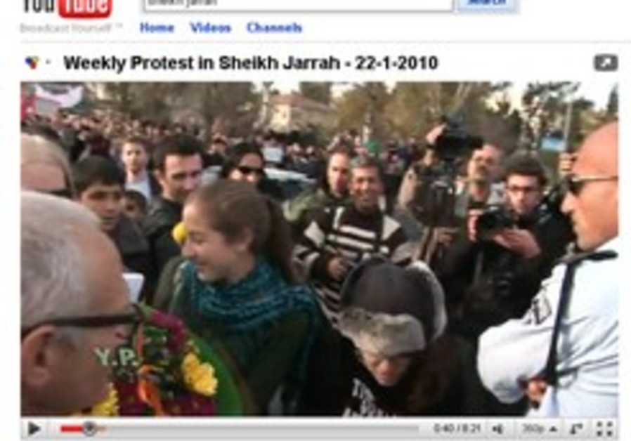 A view of a Sheikh Jarrah protest on YouTube.