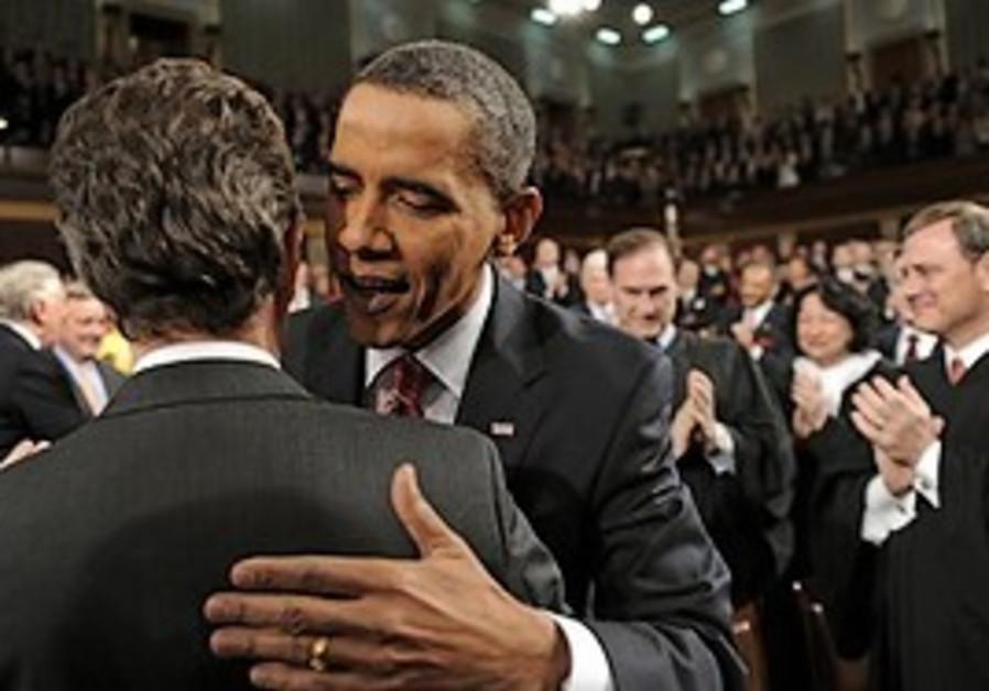 President Barack Obama greets Treasury Secretary T